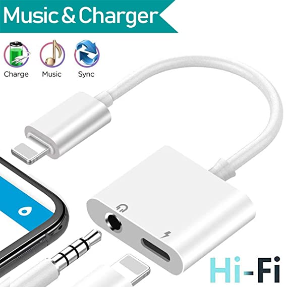 2b622a348ce 3.5 mm Headphone Jack Adapter for iPhone Xs/Xs Max/XR/ 8/8 Plus / 7/7 Plus  for iPhone Aux Adapter.2 in 1 Earphone Splitter Adaptor Charger Cables &  Audio ...