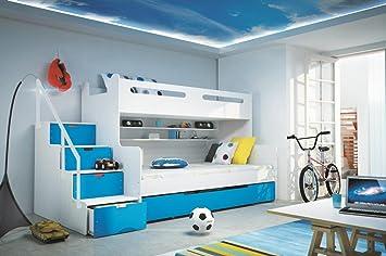 Etagenbett Metall 80x200 : Etagenbett max weiß blau cm und matratze inkl