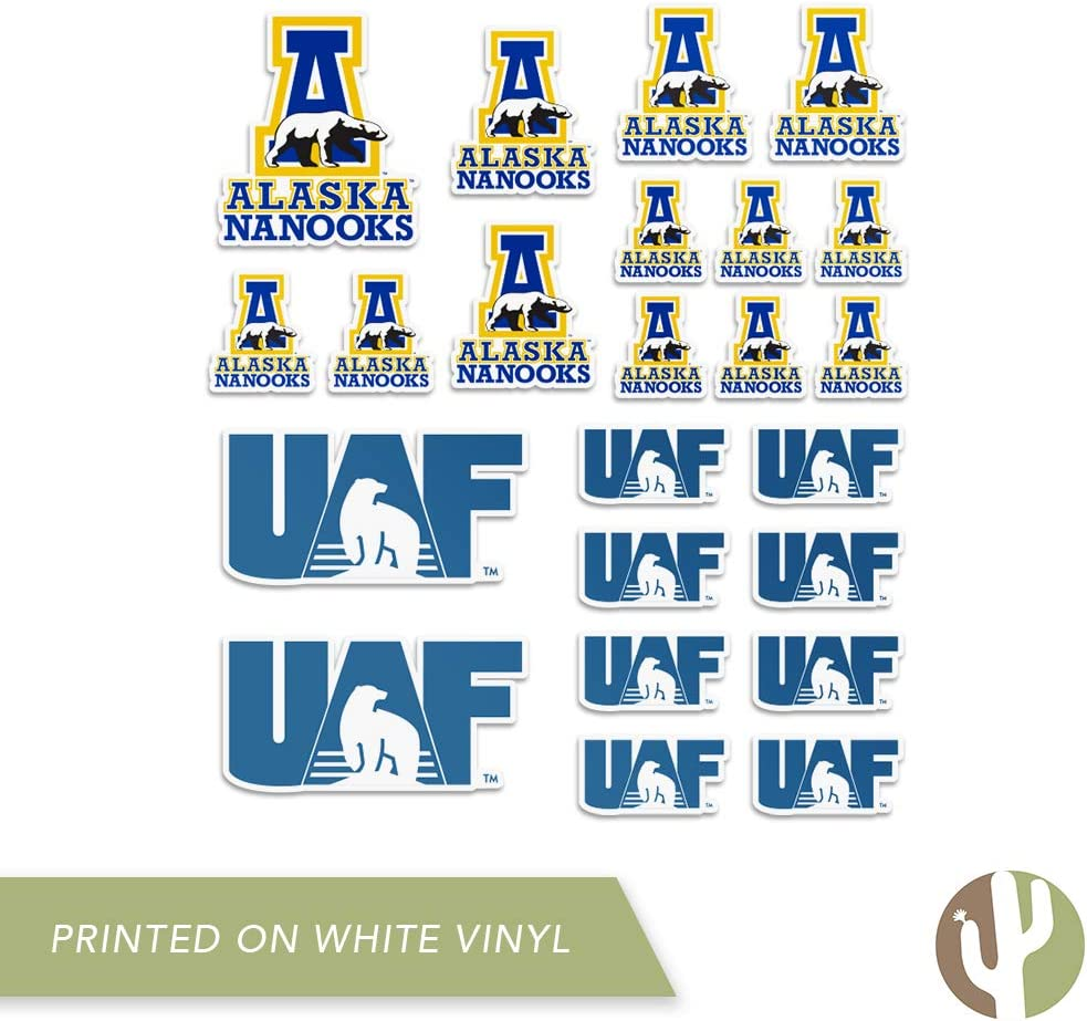 Type 1 Sheet University of Alaska Fairbanks UAF Nanooks NCAA Sticker Vinyl Decal Laptop Water Bottle Car Scrapbook