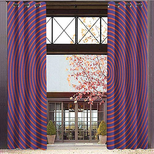 hengshu Psychedelic Room Darkened Insulation Grommet Curtain Hypnotic Spiral Pattern Spell Theme Optic Illusion Effect Retro Illustration Living Room W72 x L84 Inch Violet Orange (Spell Grommet)