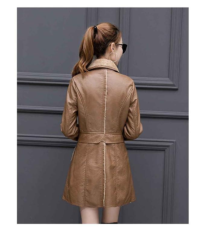 Abrigo de cuero de chaqueta de invierno de mujer Espesar abrigo de cuero de oveja de piel de abrigo medio, Yellow, XL: Amazon.es: Ropa y accesorios