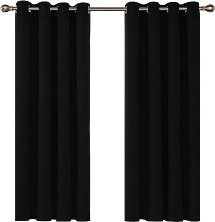 Deconovo Tende Oscuranti Termiche Isolanti per Finetre Moderne con Occhielli 117x138cm Nero 2 Pannelli