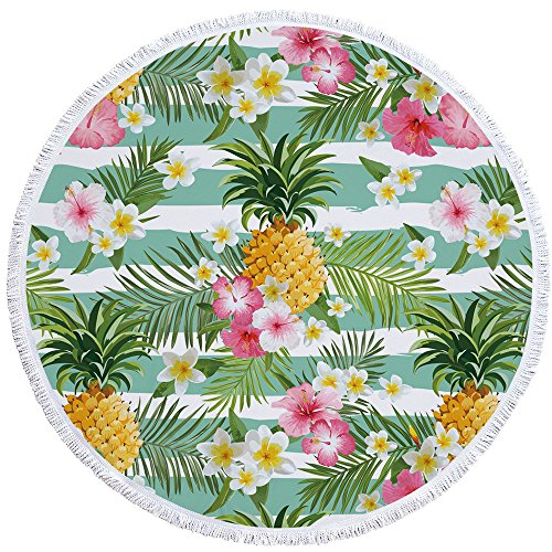 PYHQ Floral Pineapple Circle Beach Towel Cover Cotton Tassel