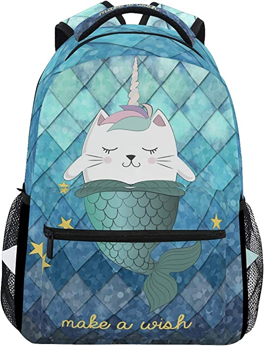 ZOEO Girls Backpacks Teal Blue Mermaid Unicorn Cat Kids 3th 4th 5th Grade School Bookbags Travel Laptop Daypack Bag Purse for Teens