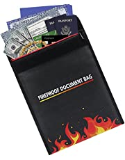 Esimen 11.81'' x 9.4'' Fireproof pouch Money valuable Document Bag Fire Resistant material Bag for Cash, Birth Certificate, Passport, Titles, Jewelry (Black)
