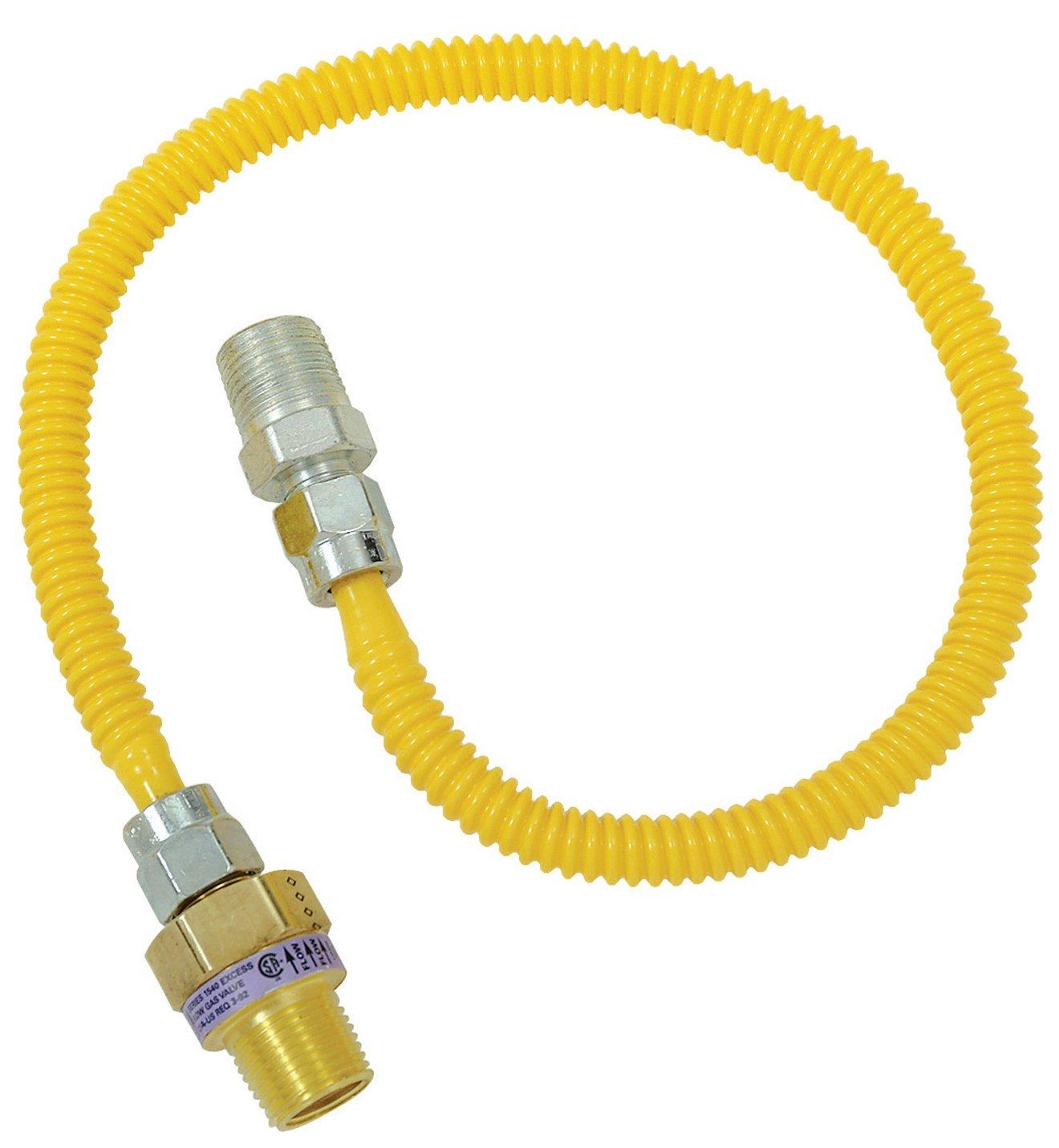 Plumb Shop Brasscraft CSSL44E-24P 1/2-Inch MIP x 3/8-Inch MIP x 24-Inch Gas Connector