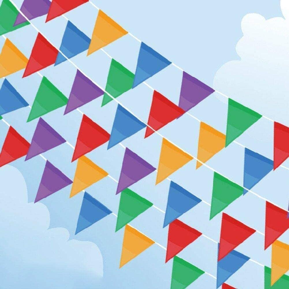 Focuses 300PCS Pennant Banner Flags, Multicolor Pennant Flags, 375Ft Triangle Bunting Flag Banners for Party, Birthdays, Festivals, Christmas Strap Hanging Decorations Ideal for Indoor or Outdoor use