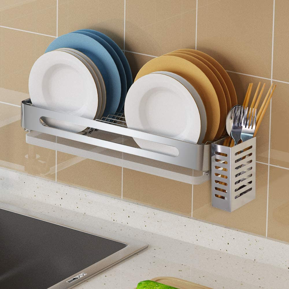 Amazon Com Hanging Dish Drying Rack Wall Mount Over The Sink With Utensil Holder Junyuan Kitchen Dishes Plate Shelf Organizers With Removable Drain Board Stainless Rust Proof Kitchen Dining