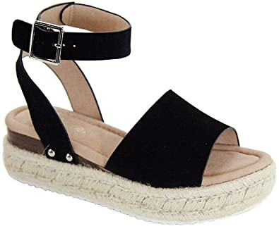 9d48fbd47b Amazon.com | Bella Marie Bessy-1 Women Flatform Platform Espadrille Ankle  Strap Open Toe Sandal Wedge | Sandals