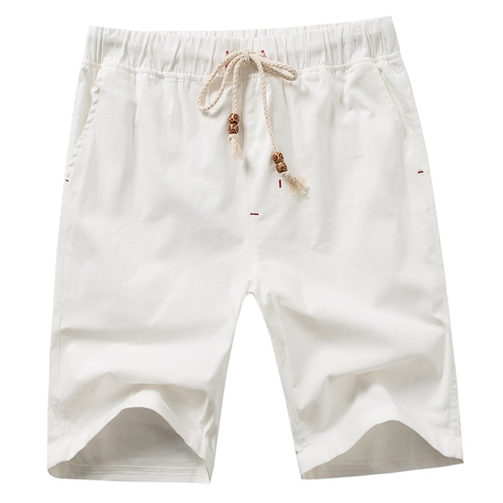 HULANG Mens Summer Casual Linen Elastic Waist White Beach Shorts Drawstring (White1, Medium)