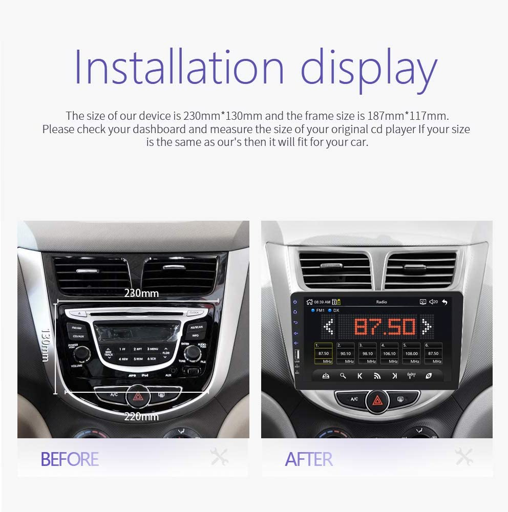 Carrfan Espejo de Reproducci/ón de Coche Incorporado para Android 9.0 iOS Link 2 DIN Car Radio 9 Pulgadas BT USB MP5 Player Autoradio