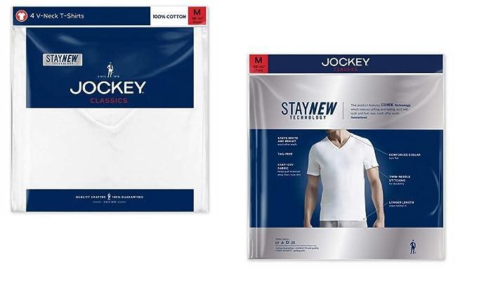 bd2f099931e8 Amazon.com: Jockey Men's V-Neck T-Shirts Classic Tag Free Cotton - Stay New  Technology Stay White: Clothing