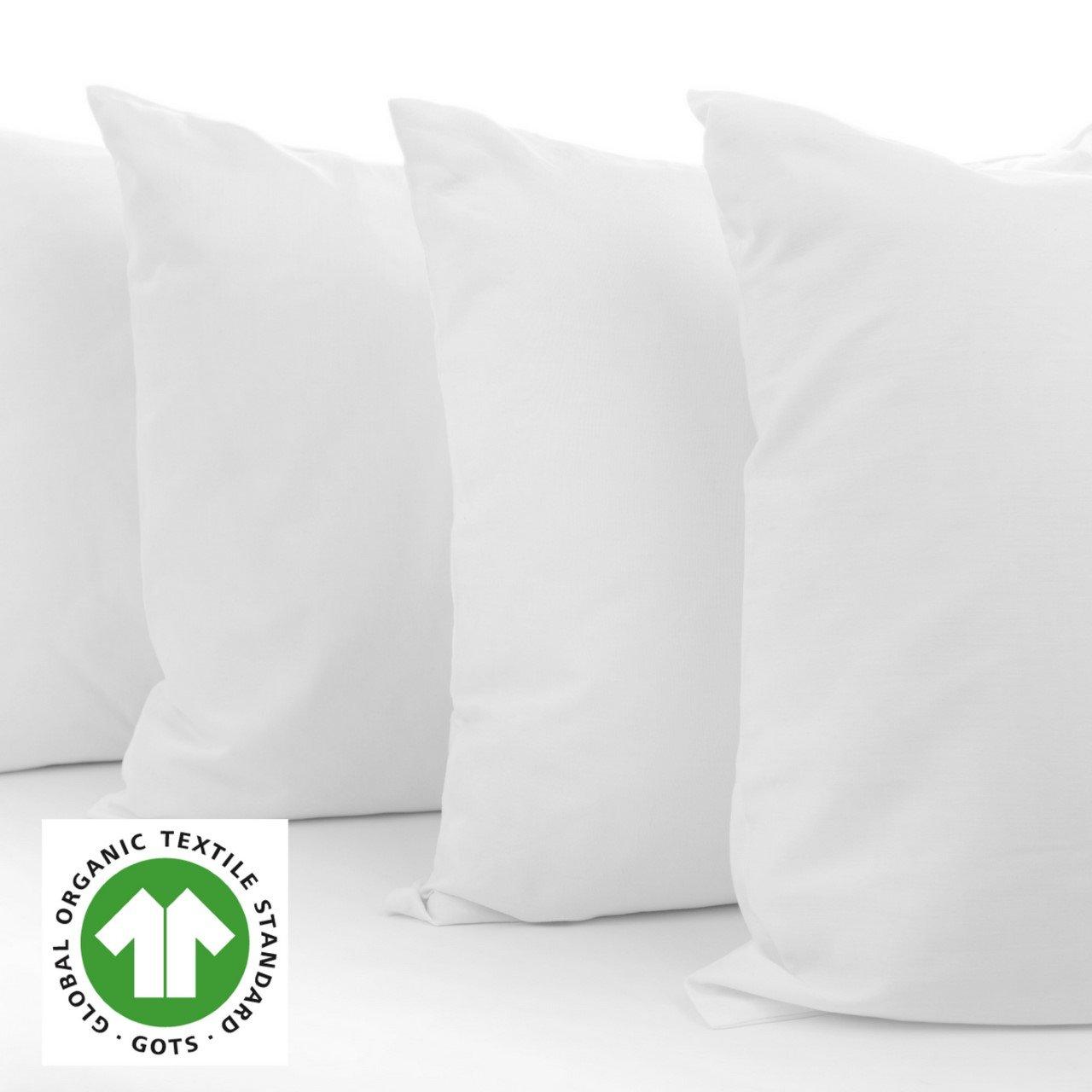 A1HC Organic Cotton Sterilized 95% feather 5% Down Pillow Insert 24 x 24'' White Set of 2