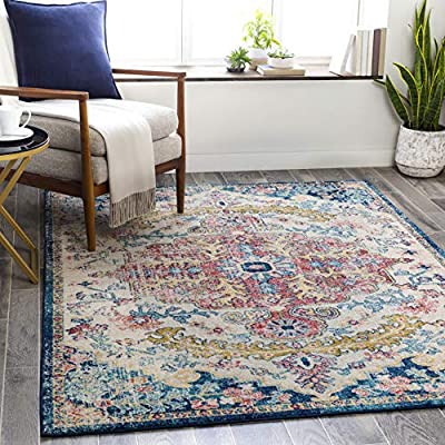 """Artistic Weavers Odelia Area Rug, 5'3"""" x 7'3"""", Garnet/Navy - Designed to withstand everyday wear, this rug is kid approved and pet friendly. Perfect for high traffic areas of your home such as living room, dining room, kitchen, and hallways. Machine woven with polypropylene fibers for maximum durability. This versatile rug features a gorgeous updated traditional design for a timeless look at a comfortable price point. - living-room-soft-furnishings, living-room, area-rugs - 61H8QSdKZTL. SS400  -"""