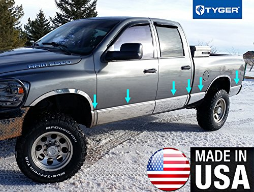 Made In USA! Works With 2002-2008 Dodge Ram Quad Cab Short Bed Rocker Panel Chrome Stainless Steel Body Side Moulding Molding Trim Cover 8