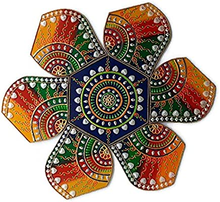 Floor or Table Decoration Decorative Plaques Multi Design Wooden Rangoli for Diwali or Christmas Decoration 7 Piece Wall