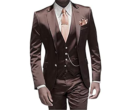 bc3a8f2ff23 TBB Men s Fashion Suits Slim Fit Lapel Two Buttons Wedding Tuxedos 3 Pieces  Set at Amazon Men s Clothing store