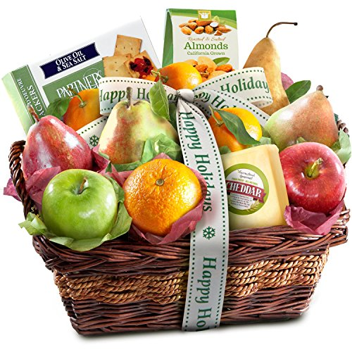 Happy Holidays Fruit Basket with Cheese and Nuts (Nut And Cheese Gift Baskets)