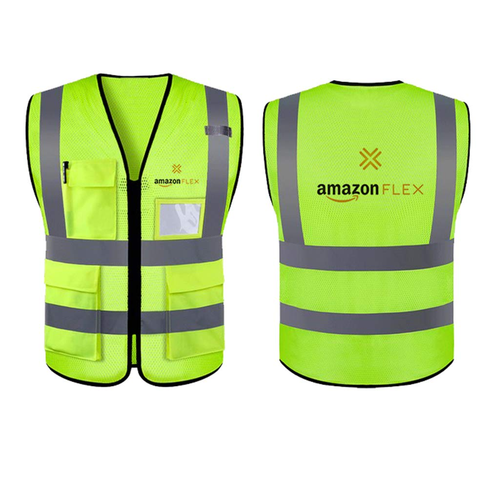 Step ahead bot High Visibility Safety Vest with 2 Pockets, |Color Neon Yellow | Amazon flex logo| (Medium)