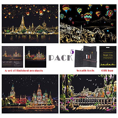 BOTEEN Scratch Art Paper Rainbow Painting Sketch, City Series Night Scene,Scratch Painting Creative Gift,Scratchboard for Adult and Kids,with 4 Tools,Size:16''x11''(5 - Kit Series Stylus