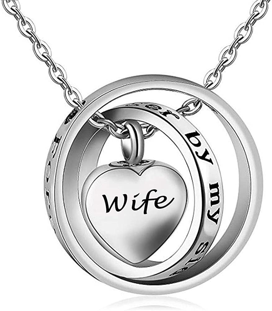Cool Jewelry Stainless Steel Necklaces No Longer by My Side,Forever in My Heart Carved Locket Cremation Urn Necklace Ashes Memorial Jewelry