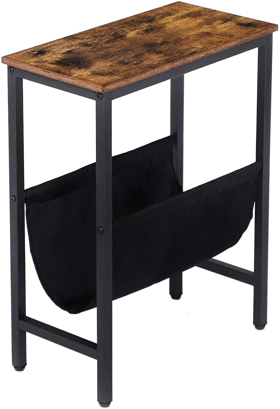 HOOBRO Side Table, Narrow End Table with Magazine Holder Sling, 18.9 x 9.4 x 24 Inch Industrial Nightstand for Small Spaces, Wood Look Accent Furniture with Metal Frame, Rustic Brown BF41BZ01