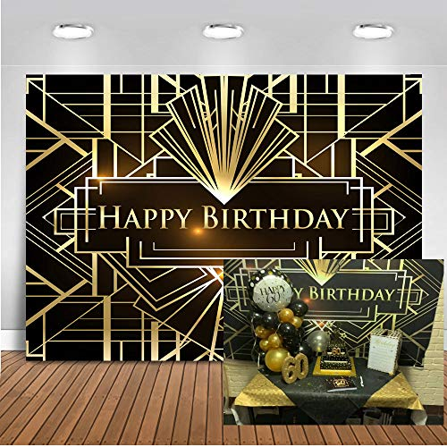 Mocsicka Happy Birthday Backdrop The Great Gatsby Theme Irregular Black and Gold Stripe Photography Background 7x5ft Vinyl 1920s Photo Props Studio Booth Background ()