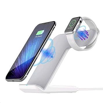 Sararoom Cargador Inalámbrico, 2 en 1 Qi Cargador Inalámbrico Rápido Funciona con Iwatch II III iPhone 8 iPhone X/XS, S6 / S6 Edge/Note 5 / S7 / S7 ...