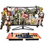 XFUNY Double Stick Arcade 815 Classic Games Machine 2 Players Pandora's Box Game Handle King of Fighters Double Fight Rocker (Yellow)
