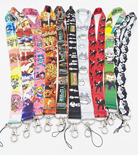 10 Assorted Anime Inuyasha Miku Kaito Jiji Phone Key Chain Strap LANYARD Set #24