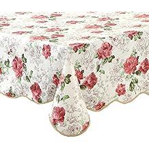 "Artisan Flair AF4760-017 Pink Rose Kitchen Tablecloth For Dinner Parties & Picnics -47""x 60"""