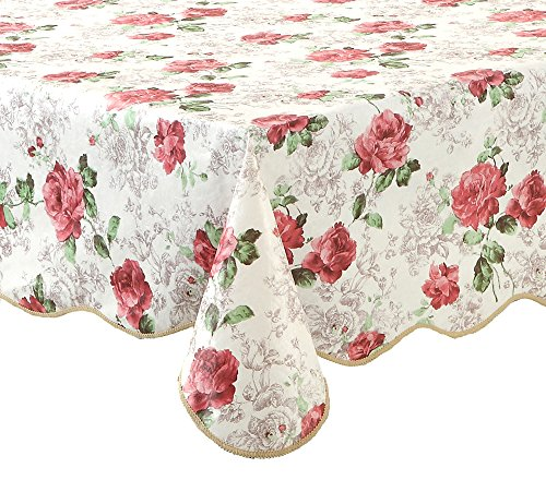 Artisan Flair AF5472-017 Pink Rose Kitchen Tablecloth For Dinner Parties & Picnics-54 x 72
