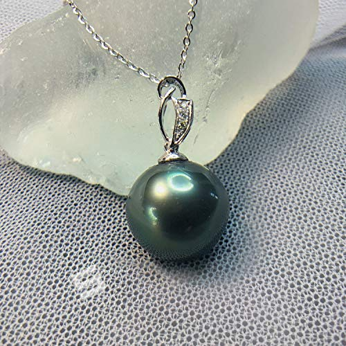 (Top Quality Tahitian Pearl And Diamonds Pendant, 12.5MM AAA Grade Saltwater Black Pearl In 18KT Solid Gold And Genuine Diamonds Pendant)
