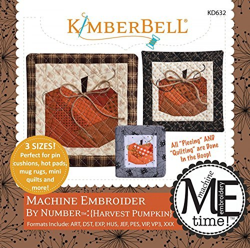Pumpkin Embroidery Design - CD Machine Embroider by Number Harvest Pumpkin In the Hoop Machine Embroidery CD by KimberBell