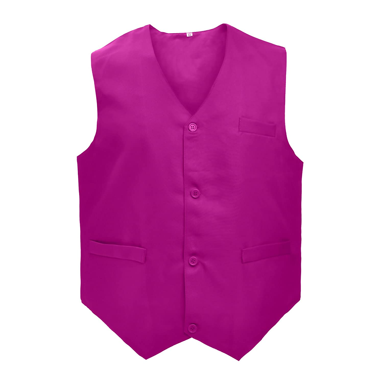 TOPTIE 5 Packs Unisex Waiter Uniform Vest Bartender Waitress Botton Workwear with Pockets for Men Women