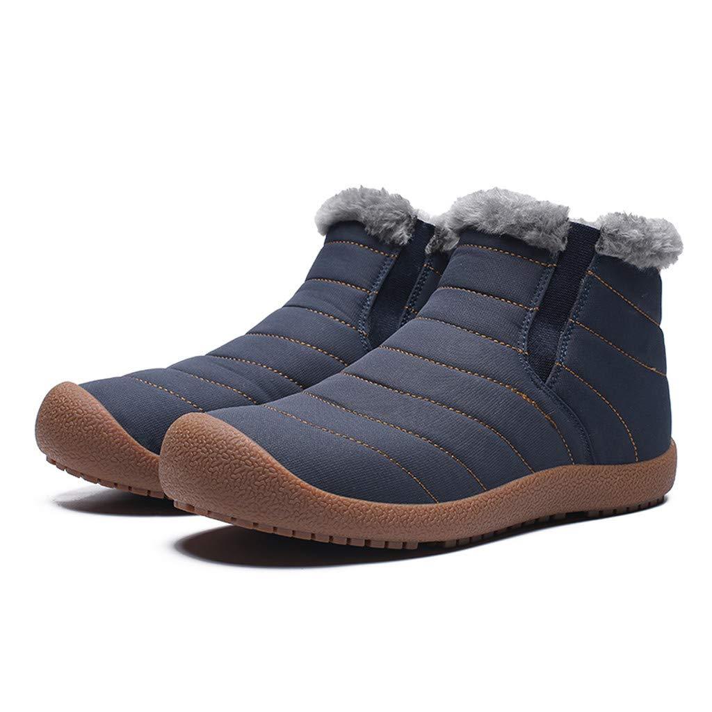 Men Snow Boots Winter Casual Outdoor Waterproof Light Weight Velvet Flat Shoes
