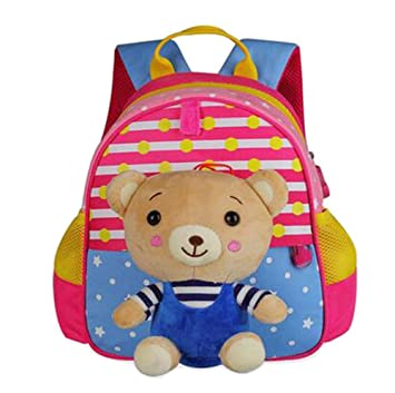 9f0b57c4f81e Amazon.com   Cute Animals Shape Childrens Backpack For School Hiking  Camping Bear Pink   Baby