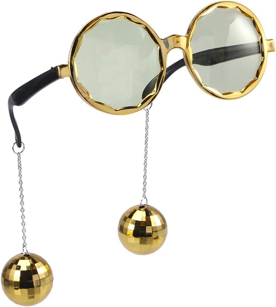 BESTOYARD Gafas de Sol del Partido con la Bola Colgante Disco Ball Novedad Gafas Divertidas para el Partido de la Mascarada de Halloween Props (Golden)