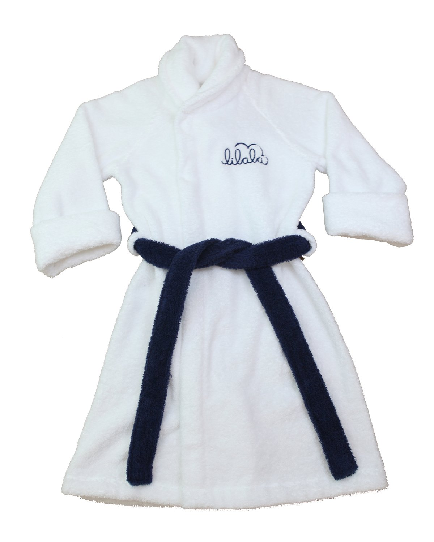 Boys Robe, Kids Cotton Terry Bathrobe, 100% Organic, Quality Made in Portugal (X Small) White