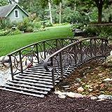 Home Improvements Weathered Black Finish Metal 8 Foot Garden Bridge Outdoor Yard Lawn Landscaping