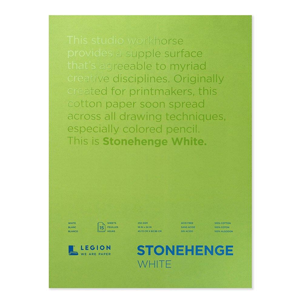Legion Stonehenge Pad, Cotton Deckle Edge Paper, 18 X 24 inches, White, 12 Sheets (L21-STP250WH1824) by Legion Paper