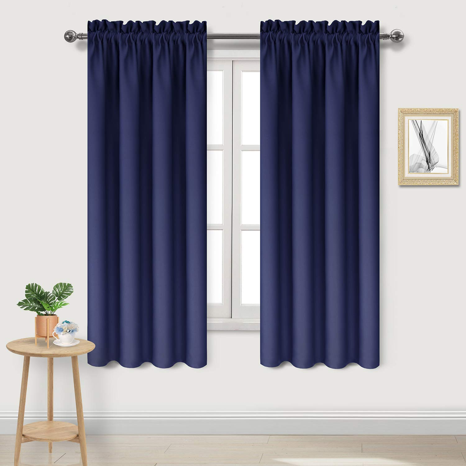 DWCN Room Darkening Thermal Insulated Bedroom Curtains Navy Blue Blackout  Curtains Living Room Curtain Panel, Set of 2 Rod Pocket Drapes, 42 x 72 ...