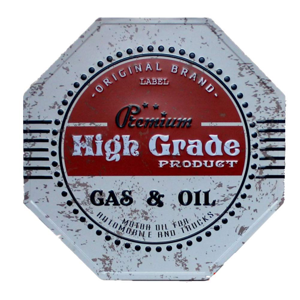 Hosaire 1x Cartel de Estaño Octágono Gas Oil Diseño,Placa de ...