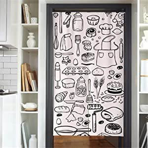 MYRU Japanese Curtain Noren Japanese Curtain for Restaurant Closet Door Entrance Feng Shui Doorway Curtain (White Food,33.5 Inches x 59 Inches)