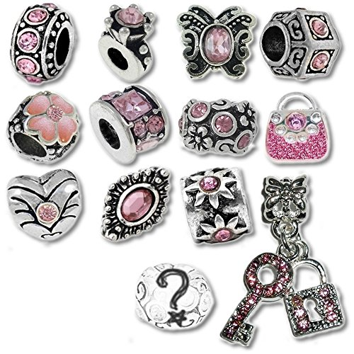 Pink October Birthstone Beads and Charms for Pandora Charm Bracelets