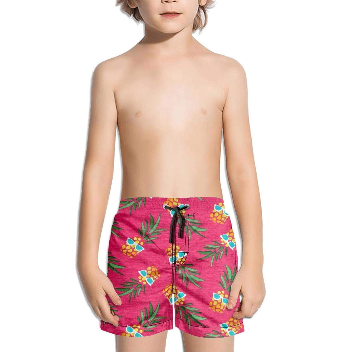 Ouxioaz Boys' Swim Trunk Pineapples with Glasses Pink Beach Board Shorts
