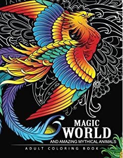 Magical World And Amazing Mythical Animals Adult Coloring Book Centaur Phoenix Mermaids