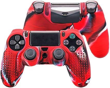 OcioDual Funda de Silicona Carcasa para Mando Sony PS4 PlayStation 4 Slim Pro Dualshock 4 Tricolor Rojo: Amazon.es: Videojuegos