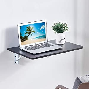 4HOMART YVONNE&F.L.A.M. Wall-Mounted Drop-Leaf Table Folding Kitchen & Dining Table Small Space Saving Floating Computer Desk for Office Home Kitchen