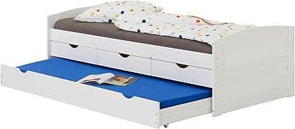 IDIMEX Cama Nido Jessy – Cama Infantil Funcional Nido (y Espacio 3 cajones, Dormir 90 x 200 cm 1 Plaza/1 Persona, en Pino Macizo, Pino Macizo, Blanco, ...